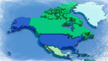 north america: 3D map of North America with colored embossed nations
