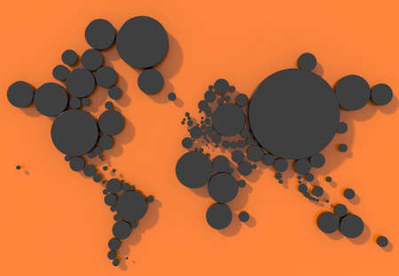 mondo: Map 3D Earth with cylinders and colorful background
