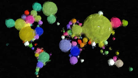 Earth Map 3D with spheres and different materials