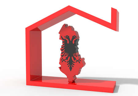 Albania 3D map with house symbol Stock Photo