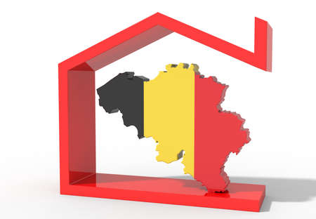 Belgium 3D map with house symbol