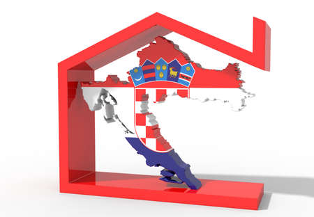 3D map Croatia with house symbol Stock Photo