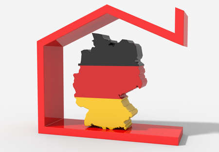 3D map Germany with house symbol Stock Photo