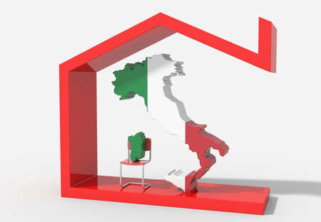 Italy 3D map with house symbol
