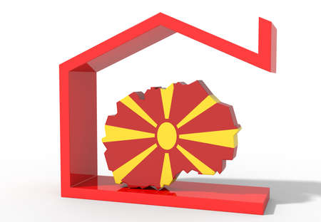 Macedonia 3D map with house symbol Stock Photo