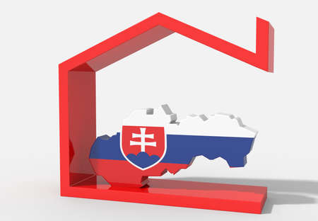 Slovakia 3D map with house symbol Stock Photo