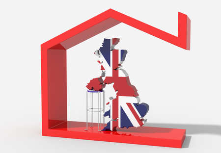 Map 3D UK with house symbol Stock Photo