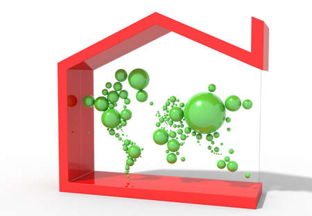 mondo: Earth Map 3D with spheres and house symbol