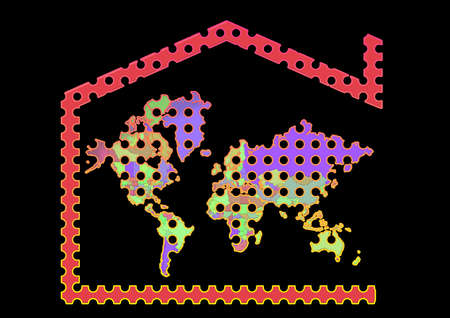 Map 3D Earth with house symbol and colorful background
