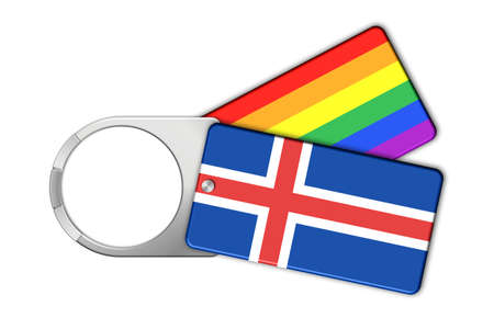 Keychain with Iceland flag and Peace Stock Photo