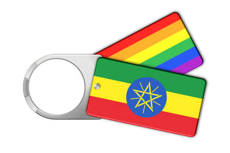 ethiopia  flag: Keychain with Ethiopia flag and Peace