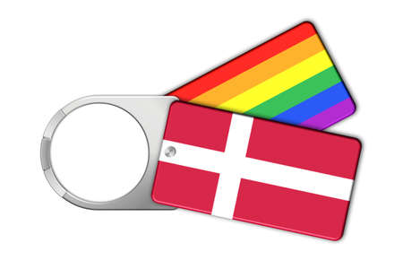 Keychain with the flag of Denmark and Peace Stock Photo