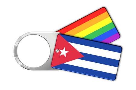 cuba flag: Keychain with Cuba flag and Peace Stock Photo