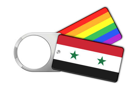 syria peace: Keychain with flag Syria and Peace Stock Photo