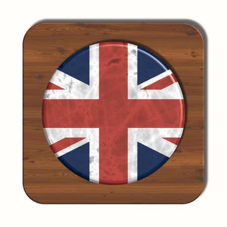 3d button: 3D button with UK flag