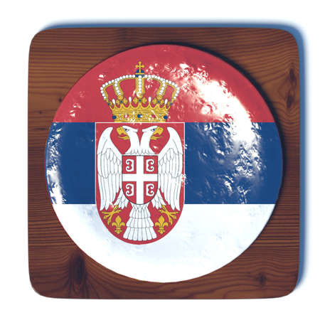 3d button: 3D button with flag Serbia