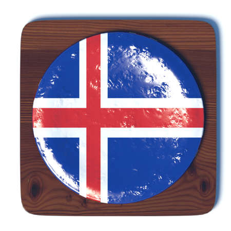 3d button: 3D button with flag Iceland