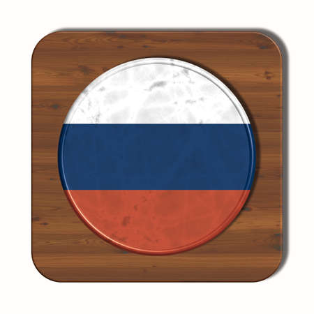 russia flag: 3D button with Russia flag Stock Photo