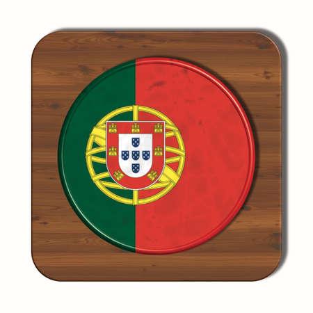 bandera de portugal: botón 3D con la bandera de Portugal Foto de archivo