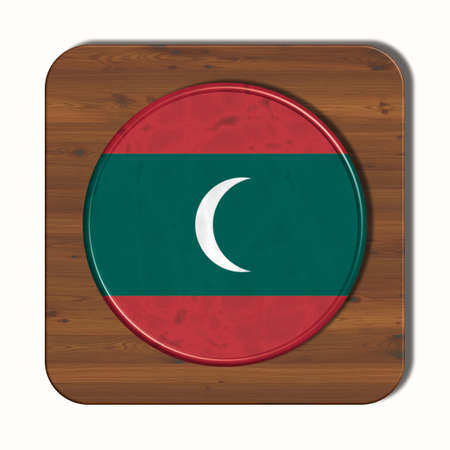 3d button: 3D button with flag of Maldives