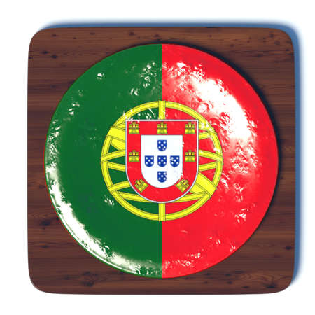 3d button: 3D button with flag Portugal Stock Photo