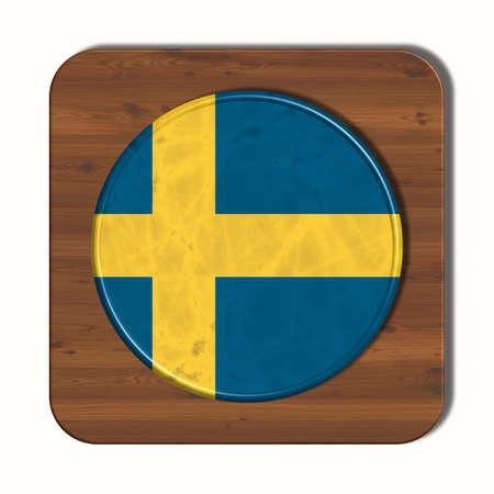 3d button: 3D button with flag Sweden