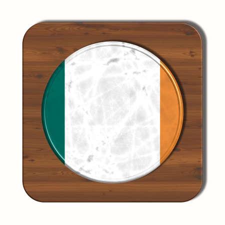 3d button: 3D button with flag Ireland