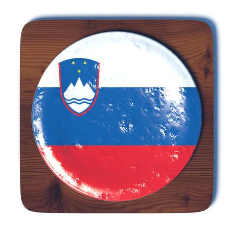 3d button: 3D button with flag Slovenia