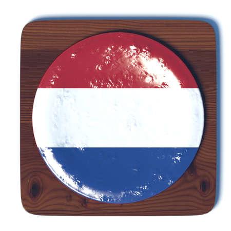 3d button: 3D button with flag Netherlands