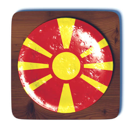 3d button: 3D button with Macedonia flag