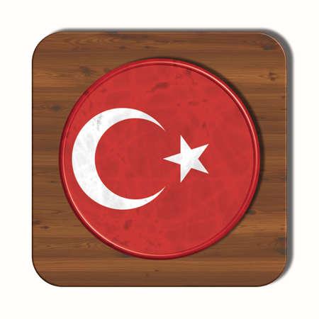 3d button: 3D button with Turkey flag