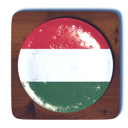 3d button: 3D button with flag Hungary