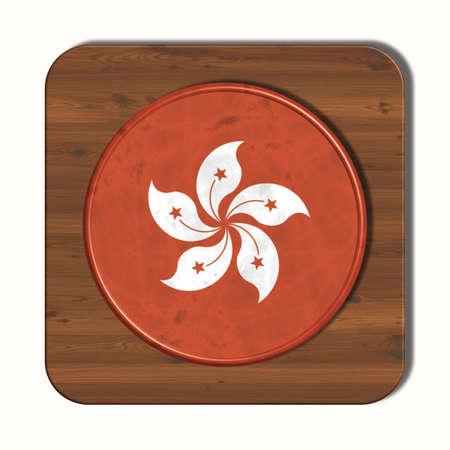 3d button: 3D button with flag Hong Kong