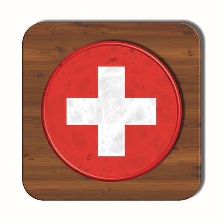 3d button: 3D button with flag Switzerland