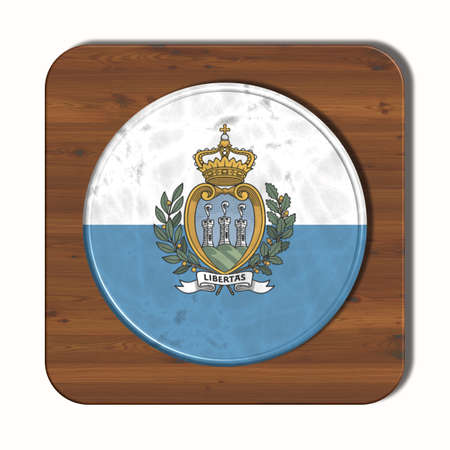 3d button: 3D button with flag of San Marino