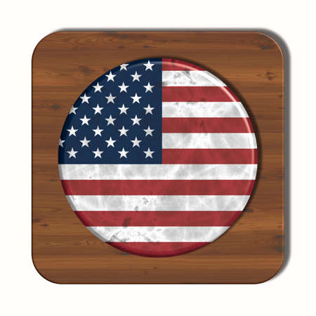 3d button: 3D button with USA flag