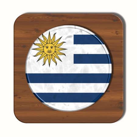 bandera de uruguay: botón 3D con la bandera de Uruguay Foto de archivo