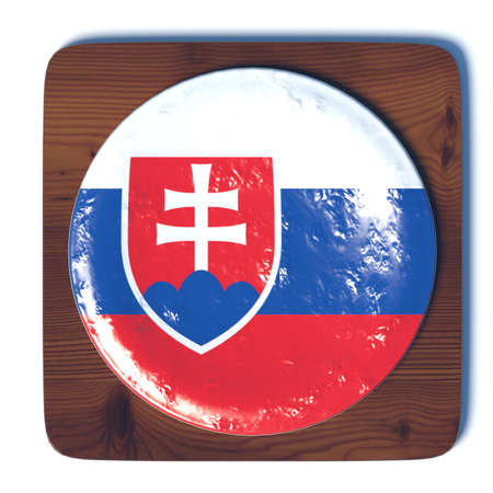 3d button: 3D button with Slovakia flag