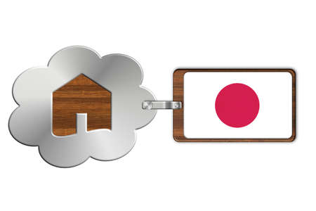 lucido: Cloud and house made of steel and wood with Japan flag