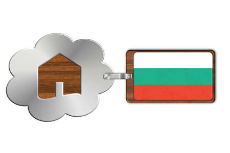 icona: Cloud and house made of steel and wood with Bulgaria flag