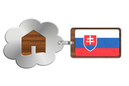 lucido: Cloud and house made of steel and wood with Slovakia flag