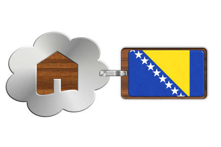 icona: Cloud and house made of steel and wood with Bosnia flag