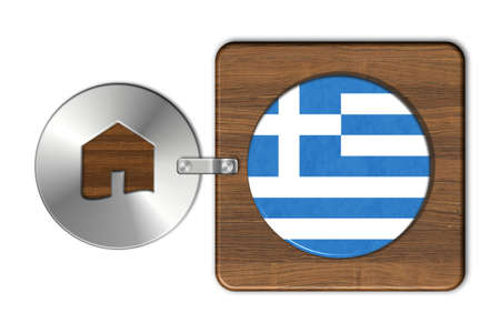 lucido: Symbol house in steel and wood with flag Greece