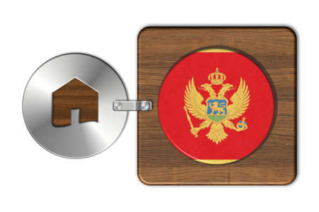 icona: Home symbol made of steel and wood with Montenegro flag