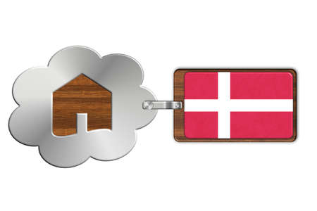 lucido: Cloud and house made of steel and wood with Denmark flag Stock Photo