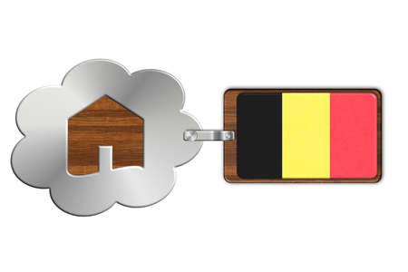 lucido: Cloud and house made of steel and wood with Belgium flag Stock Photo