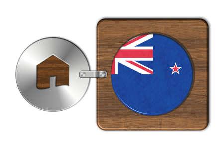 bandera de nueva zelanda: Symbol house in steel and wood with flag New Zealand Foto de archivo