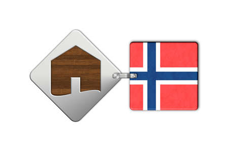 lucido: Symbol home 2 steel and wood with flag Norway Stock Photo