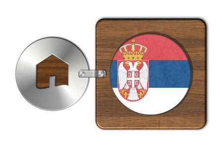 icona: Symbol house in steel and wood with flag Serbia