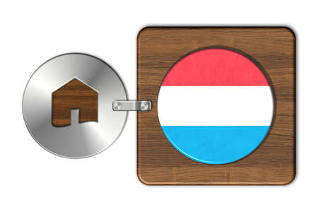lucido: Home symbol made of steel and wood with Luxembourg flag